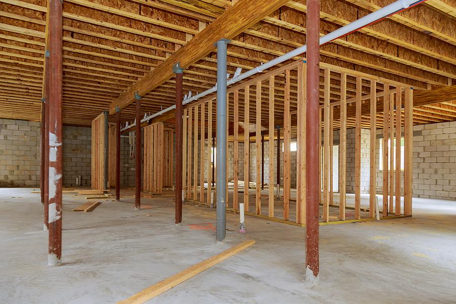 uder renovation basement with stick braces